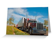 Red commercial truck Greeting Card