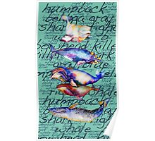 Whales-Five of them-with words Poster