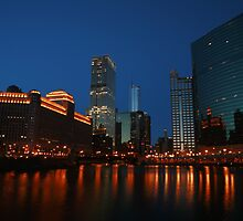 Where the River Splits in Chicago by Adam Bykowski