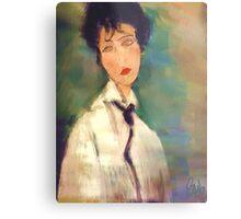 Woman with black Cravat after Modigliani Metal Print
