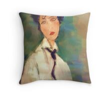 Woman with black Cravat after Modigliani Throw Pillow