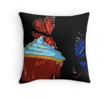 Red and Blue Cupcake and Butterflies Throw Pillow