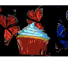 Red and Blue Cupcake and Butterflies Photographic Print