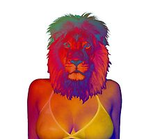 Girl ocean bikini summer sexy hot fresh lion psychedelic version 4 by dopenation