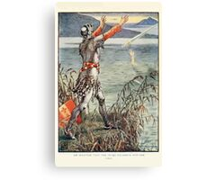 King Arthur's Knights - The Tale Retold for Boys and Girls by Sir Thomas Malory, Illustrated by Walter Crane 407 - Sir Bedever Casts the Sword Excalibur Into the Lake Canvas Print