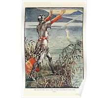 King Arthur's Knights - The Tale Retold for Boys and Girls by Sir Thomas Malory, Illustrated by Walter Crane 407 - Sir Bedever Casts the Sword Excalibur Into the Lake Poster