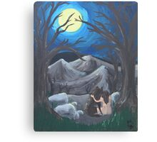 Wolf and Woman Canvas Print