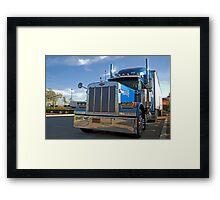 blue commercial truck Framed Print