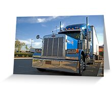 blue commercial truck Greeting Card