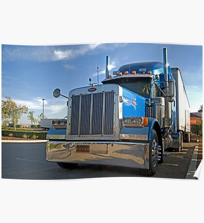 blue commercial truck Poster