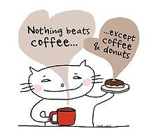 Coffee & donuts / Cat doodle by eyecreate