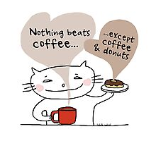 Coffee & donuts / Cat doodle Photographic Print