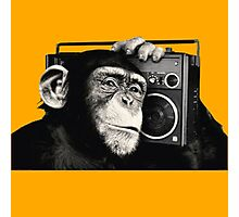 chimpanzee with cassette Photographic Print