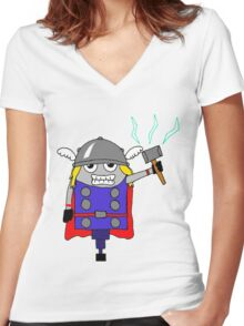 The NORSE God of Thunder Women's Fitted V-Neck T-Shirt