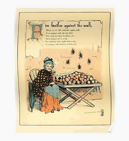 The Buckle My Shoe Picture Book by Walter Crane 1910 46 - Five Beetles Against the Wall Poster