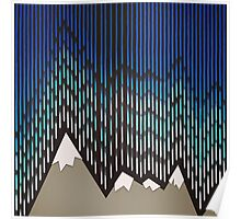Abstract Majestic Rainy Mountains Poster