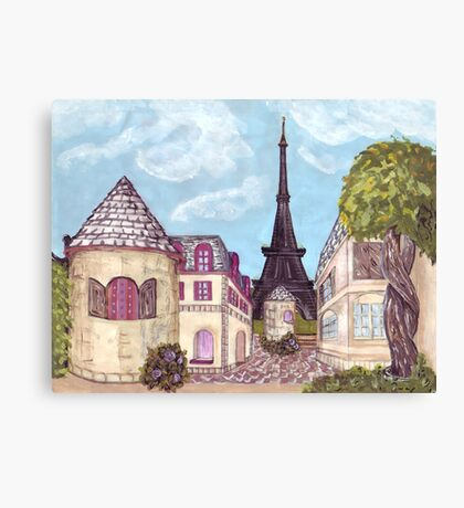 Paris Eiffel Tower inspired impressionist landscape by Kristie Hubler Canvas Print