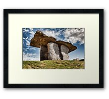 Dolmen megalithic tomb grave, County Clare, Ireland. Framed Print
