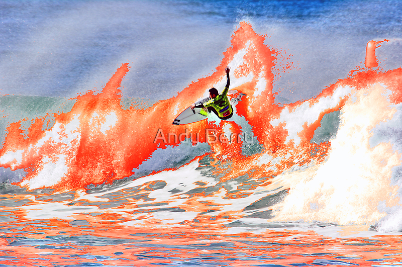 Joel Parkinson on fire at Bells, 2009 Rip Curl Pro by Andy Berry