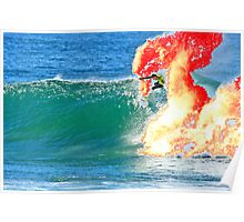 Joel Parkinson on fire at Bells, 2009 Rip Curl Pro (2) Poster