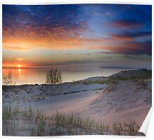 Sunset on Lake Michigan from Sleeping Bear Dunes National Lakeshore, Michigan Poster
