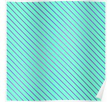 Bright Purple Pinstripe on Neon Aqua Teal  Poster
