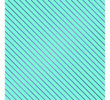 Bright Purple Pinstripe on Neon Aqua Teal  Photographic Print