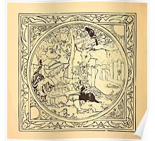 Walter Crane's Painting Book 1889 16 - Animals in the Garden Lines Poster