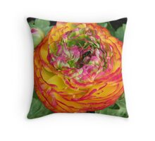Orange and Red .. Shades of a flower Throw Pillow
