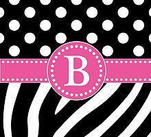 Black and White Zebra Stripes and Polka Dots B Monogram by DebiDalio