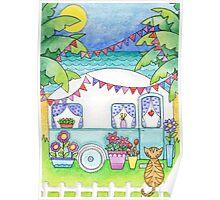 Cat Art Caravan Painting Poster