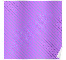 Bright Teal Pinstripe on Neon Purple Poster