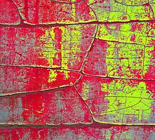 Abstract Art - Textures of Old Color in Red and Yellow by LivingWild