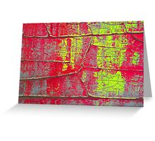Abstract Art - Textures of Old Color in Red and Yellow Greeting Card