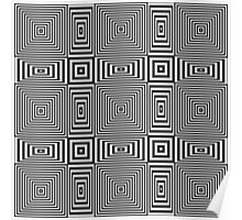 Flickering geometric optical illusion pattern with black and white stripes Poster