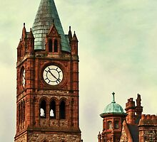 Derry Guildall - clock tower by Agnes McGuinness