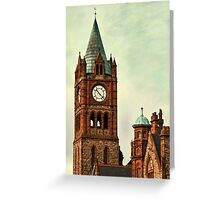 Derry Guildall - clock tower Greeting Card