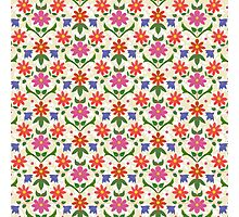 Rangoli Flowers and Polka Dots on Ecru Photographic Print