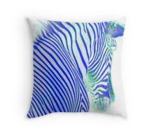 Dreamy Blue Metallic Zebra Throw Pillow