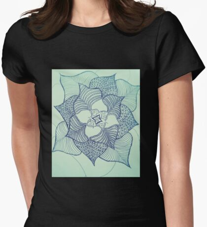 Large flower doodle in black fineliner Womens Fitted T-Shirt