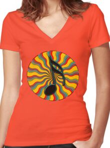 Summertime Semiquaver - 16th Note Music Symbol Women's Fitted V-Neck T-Shirt