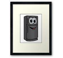 Black Refrigerator Cartoon Framed Print