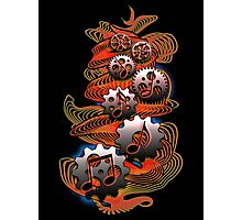 Music Audio Engineer - Music Notes & Gears (red) Photographic Print