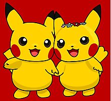 Mr. & Mrs. Pikachu Photographic Print