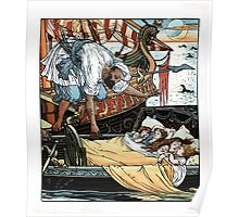 The Song Of Sixpence Pocket Book 1909 Walter Crane 39 - Leaning Over The Sleepers from a Ship at Night Poster