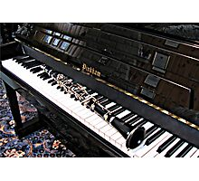 Black Beauty - Clarinet on Piano Keyboard Photographic Print