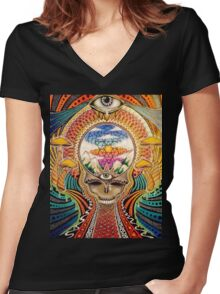 Psychedelic Grateful Dead Women's Fitted V-Neck T-Shirt