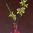 Forsythia in Vase by sally seabright