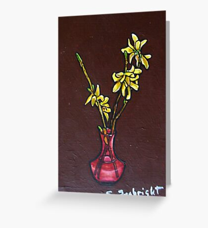 Forsythia in Vase Greeting Card