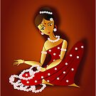 Kutty and her flowers by tandoor